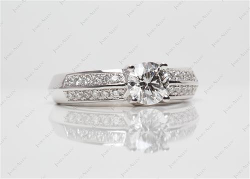 White Gold 0.58 Round cut Pave Ring Mountings