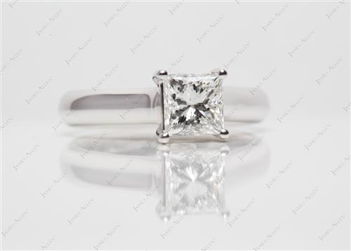 White Gold 1.00 Princess cut Solitaire Ring