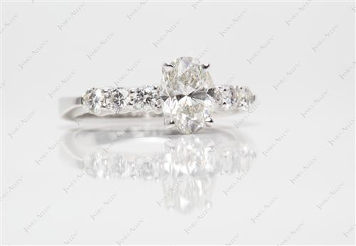 White Gold 1.21 Oval cut Diamond Ring With Side Stones