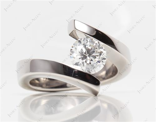 Platinum 1.49 Round cut Tension Engagement Rings