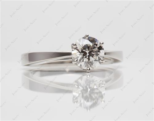 Platinum 0.91 Round cut Engagement Rings