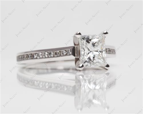 White Gold 1.02 Princess cut Channel Engagement Ring