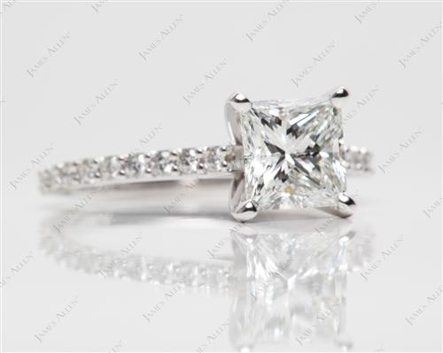 White Gold 1.54 Princess cut Engagement Ring Settings With Side Stones