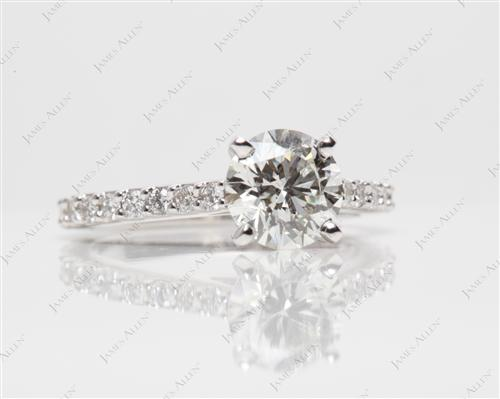 White Gold 1.15 Round cut Engagement Rings Side Stones