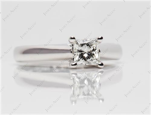 White Gold 0.55 Princess cut Solitaire Diamond Rings