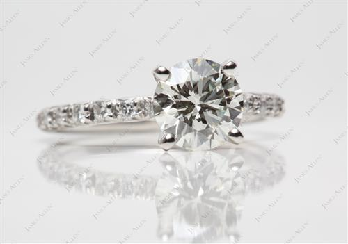 Platinum 1.51 Round cut Pave Engagement Ring