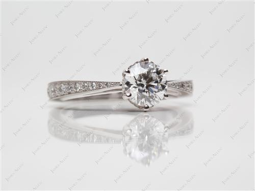 White Gold 0.73 Round cut Micro Pave Ring
