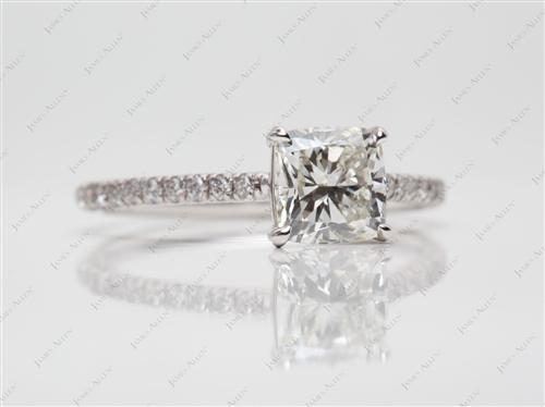 White Gold 1.21 Cushion cut Diamond Ring