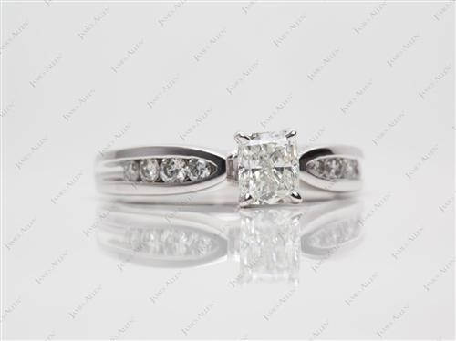 Platinum 0.71 Cushion cut Channel Engagement Ring