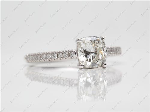 White Gold 1.00 Cushion cut Pave Ring Setting