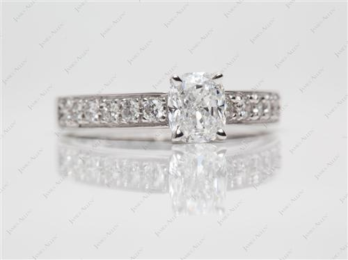 White Gold 1.01 Cushion cut Pave Diamond Engagement Rings