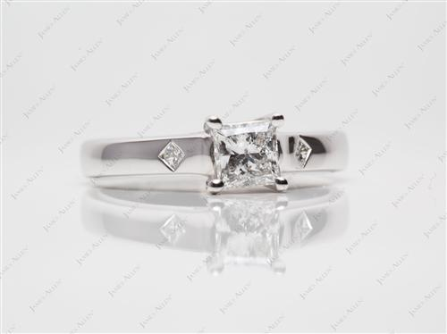 White Gold 0.72 Princess cut Round Solitaire Ring