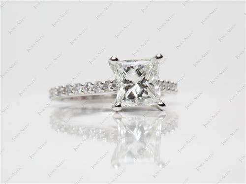 Platinum 1.57 Princess cut Engagement Rings