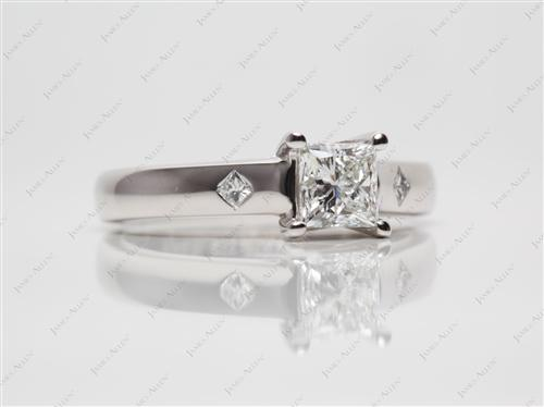 Platinum 0.74 Princess cut Solitaire Diamond Ring