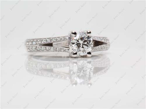 White Gold 0.57 Round cut Pave Diamond Engagement Ring