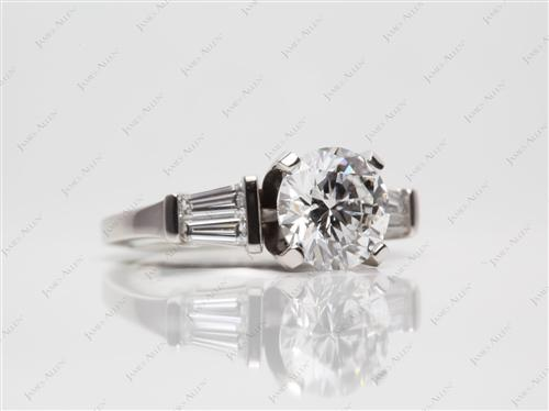 Platinum 1.52 Round cut Engagement Rings Side Stones