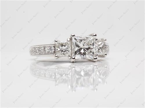 Platinum 1.13 Princess cut Engagement Rings With Sidestones