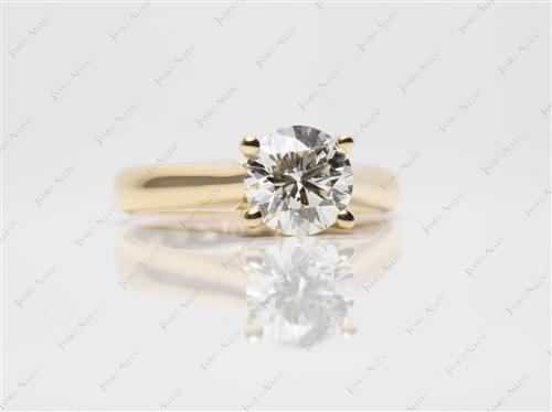 Gold 1.09 Round cut Solitaire Engagement Ring