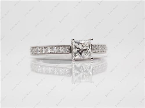 White Gold 0.73 Princess cut Micro Pave Engagement Rings