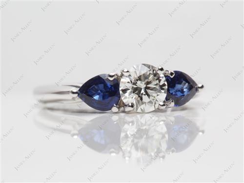White Gold  Gemstone Wedding Rings