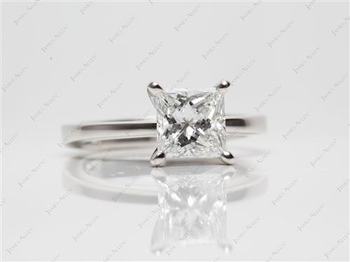 Platinum 1.20 Princess cut Solitaire Diamond Ring