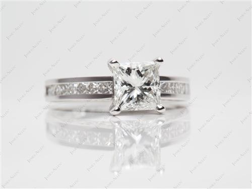 White Gold 1.50 Princess cut Channel Set Rings