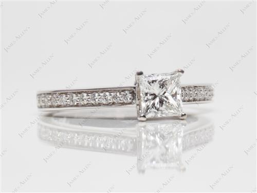 White Gold 0.58 Princess cut Pave Ring