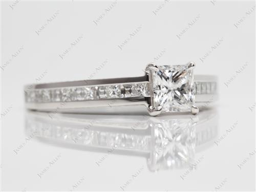 Platinum 0.71 Princess cut Channel Ring