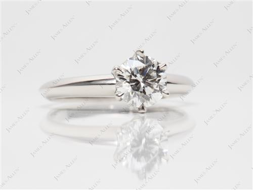 Platinum 0.81 Round cut Diamond Solitaire Engagement Ring