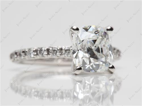 Platinum 2.03 Cushion cut Engagement Rings Pave