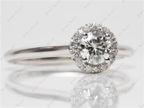 Platinum 0.52 Round cut Pave Diamond Engagement Ring