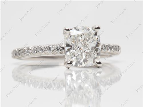 Platinum 1.61 Cushion cut Micro Pave Rings