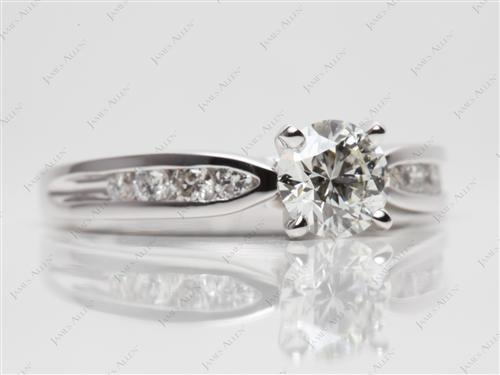 White Gold 0.84 Round cut Channel Setting Engagement Rings