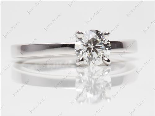 White Gold 0.71 Round cut Diamond Ring