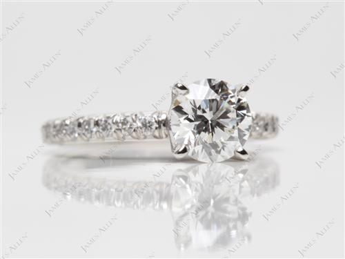 Platinum 0.80 Round cut Diamond Pave Ring