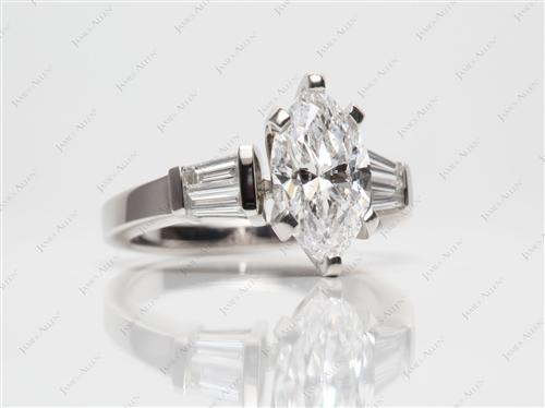 Platinum 2.08 Marquise cut Engagement Rings Side Stones