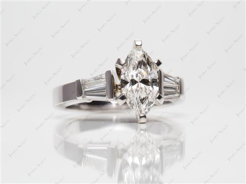 White Gold 1.20 Marquise cut Engagement Rings With Sidestones