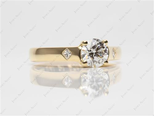 Gold 0.75 Round cut Solitaire Ring Setting
