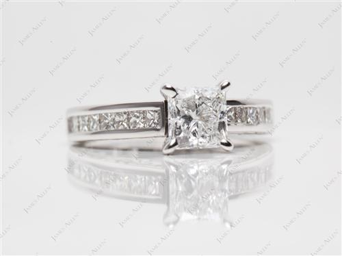 White Gold 1.02 Princess cut Channel Diamond Ring