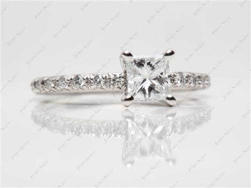 Platinum 0.72 Princess cut Pave Diamond Ring
