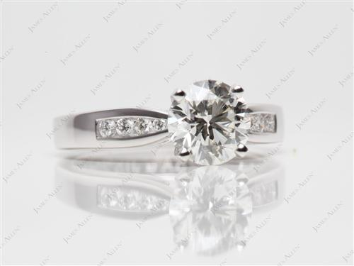 Platinum 1.50 Round cut Channel Setting Engagement Rings