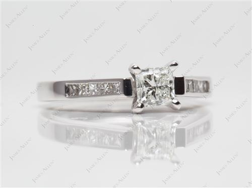 White Gold 0.50 Princess cut Channel Set Diamond Ring