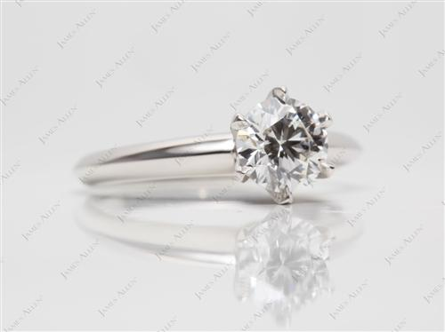 Platinum 0.81 Round cut Engagement Rings