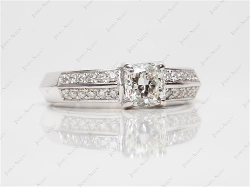 White Gold 0.71 Cushion cut Pave Engagement Rings