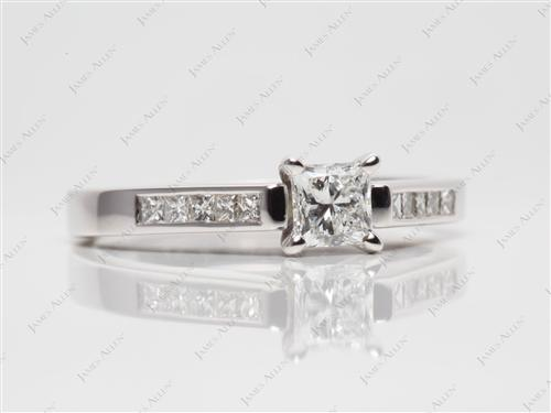 White Gold 0.51 Princess cut Channel Cut Ring