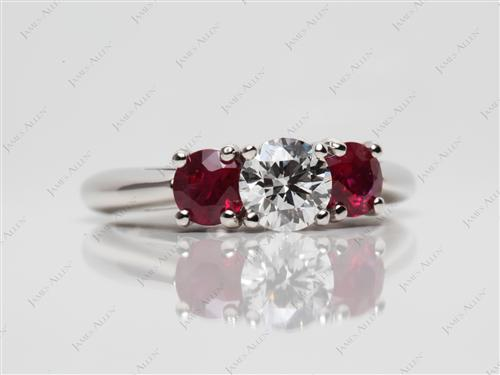 Platinum 0.61 Round cut Gemstone Engagement Rings