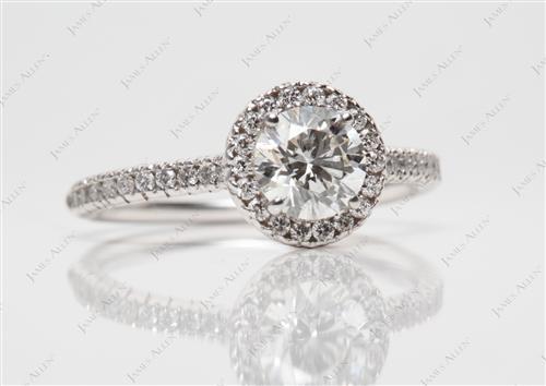 White Gold 0.71 Round cut Engagement Ring Micro Pave