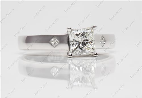 White Gold 0.92 Princess cut Solitaire Engagement Ring