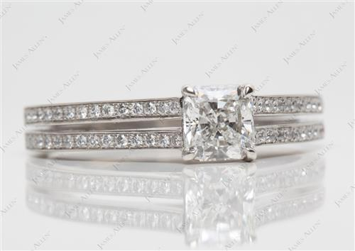 Platinum 1.02 Radiant cut Pave Diamond Engagement Rings