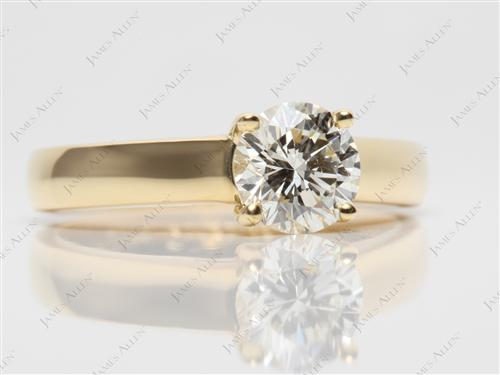 Gold 0.90 Round cut Diamond Engagement Solitaire Rings